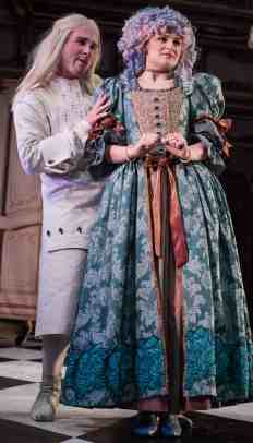 Thomas Robertshaw as Tartuffe and Caroline Fairweather as Elmire in Tartuffe at Williams college. Photo by Keith Forman, courtesy of the '62 Center