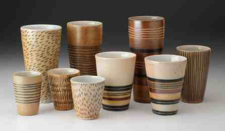 Wood-fired cups show the work of Hilltown artist James Guggina in the Asparagus Valley Pottery Trail.