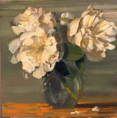 Katy Schneider, 'White Peonies,' oil on panel, appears in Ecophilia at the Berkshire Botanical Garden. Courtesy of the artist and BBG.