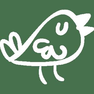 BTweeps - Bird handmade logo - White