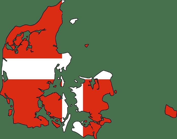 Deense vlag in de vorm van Denemarken