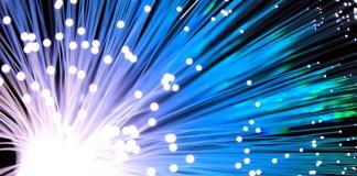 Glasvezel Kabel Blauw Netwerk Technologie
