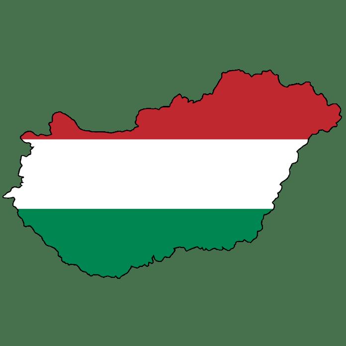 Hongaarse vlag in de vorm van het land Hongarije
