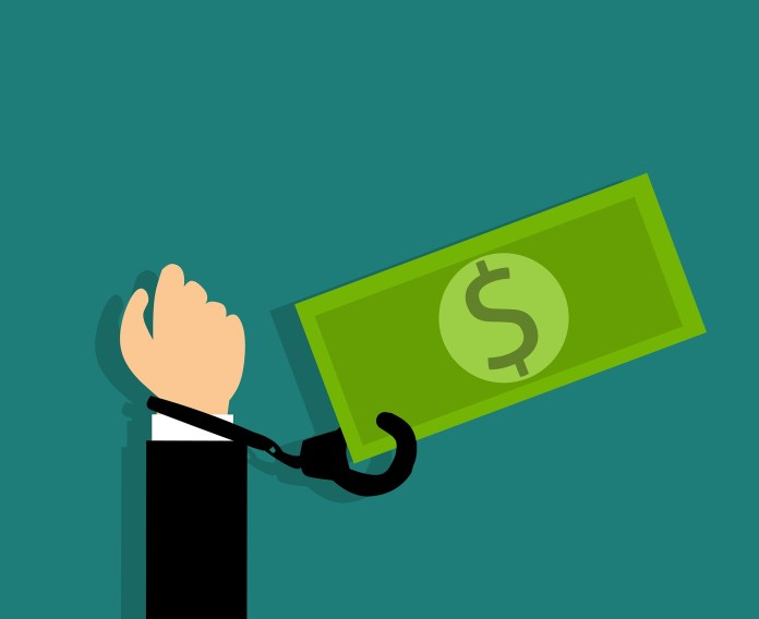Handboei Bankbiljet Dollar Geboeid Geld Staal Schulden Schuldvordering