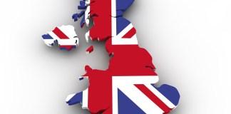 Verenigd Koninkrijk land en vlag ineen