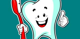 tandheelkundige zorg dental grappige tekening van een tand met tandenborstel
