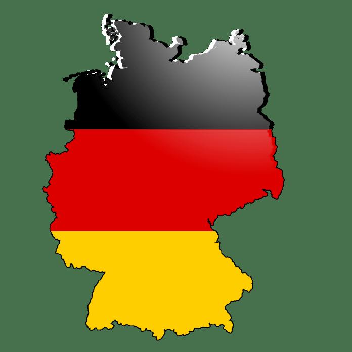 Duitse vlag in de vorm van Duitsland