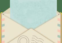 enveloppe post brief met stempel en rood blauwe kenmerken
