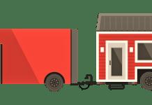 stacaravan achter een auto tiny house