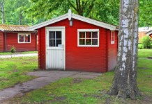 Cabine Hout Houten Blokhut Huisje Bungalow Vakantiehuisje