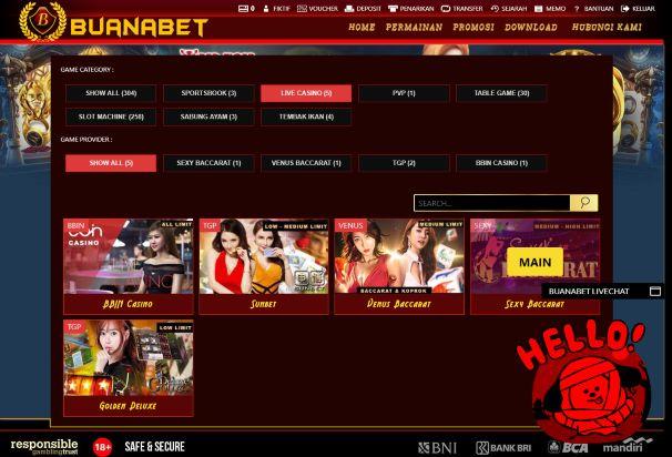 Klik Main Pada Pilihan Provider Layanan Permainan Live Casino Sexy Baccarat