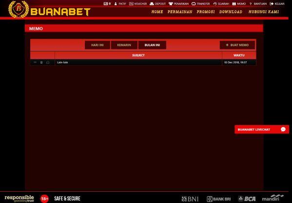 Halaman Memo Aplikasi White Label Online Gaming
