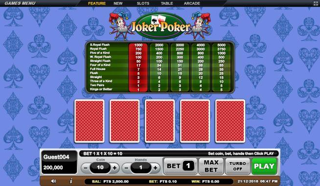 Tampilan Sebelum Memulai Permainan Joker Poker Online