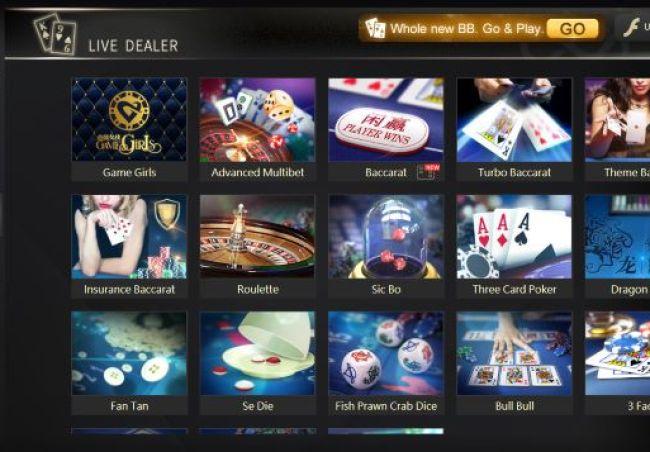 Tampilan menu permainan live dealer BBIN Casino