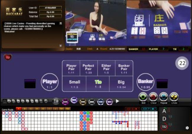 Tampilan table BBIN live Casino