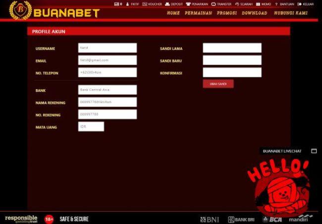 Tampilan halaman profil pengguna di White Label