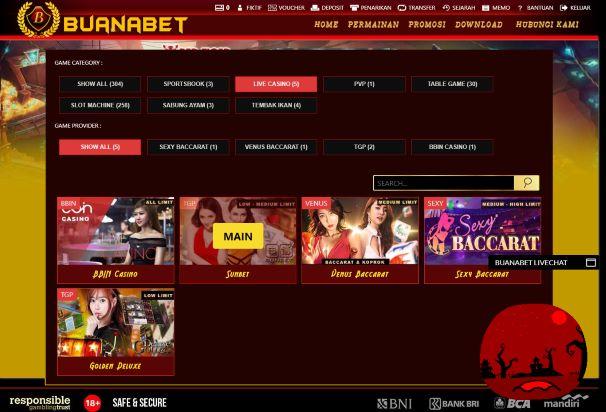Tampilan halaman Pilihan Provider Live Casino White Label