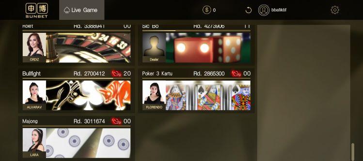 Tampilan jenis permainan Live Casino SunBet