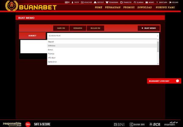 Halaman Buat Memo Pilih Kategori Aplikasi White Label Online Gaming