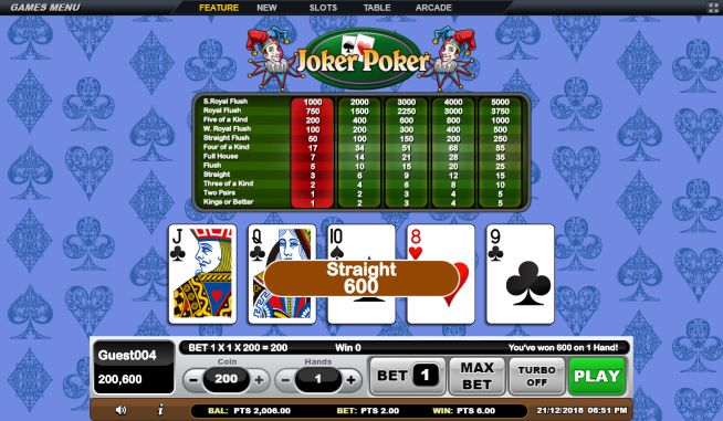 Straight Joker Poker Gsoft Online Gaming