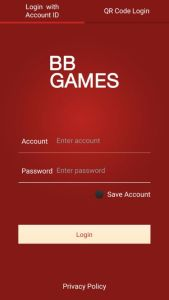 Tampilan Login Mobile Casino Online BB Games