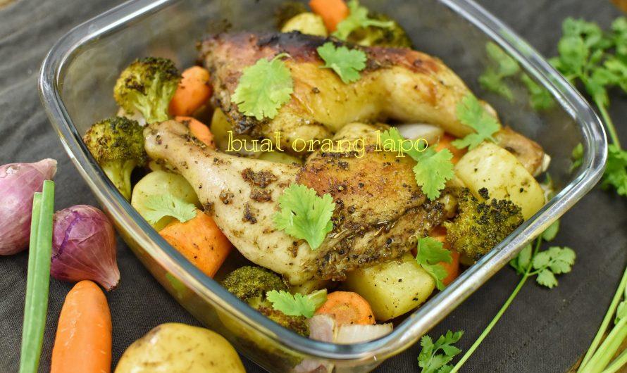 Ayam Panggang bersama Sayuran Menu Sihat