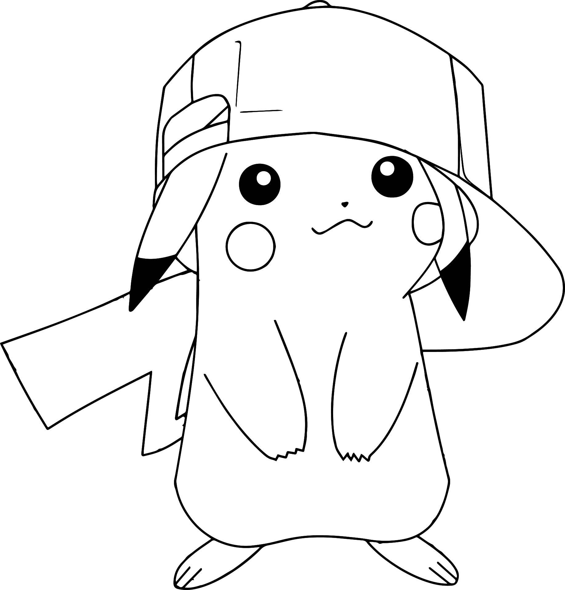 Pikachu Christmas Hat Coloring Pages