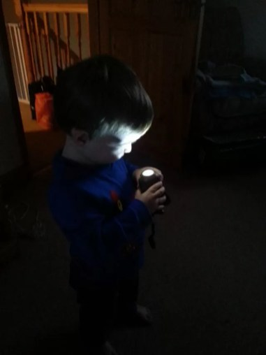 Loving his new torch
