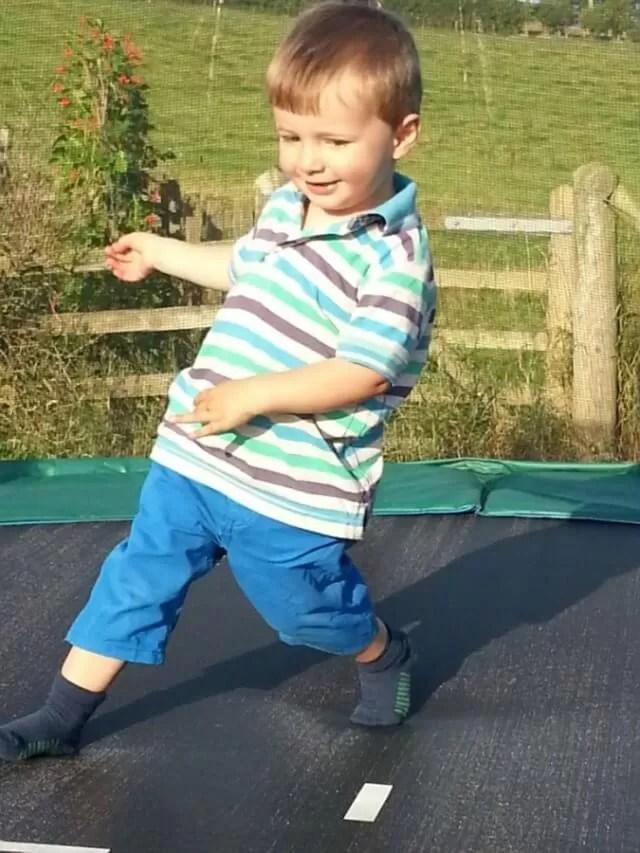 running around the trampoline