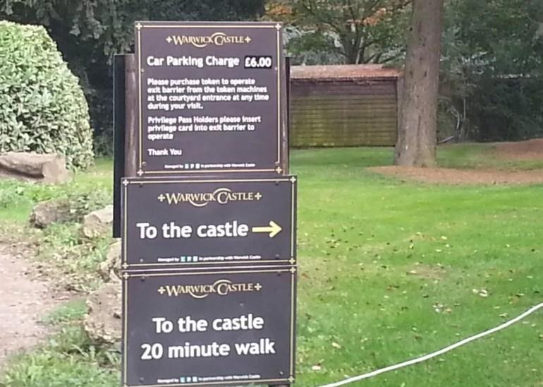 Warwick castle car parking