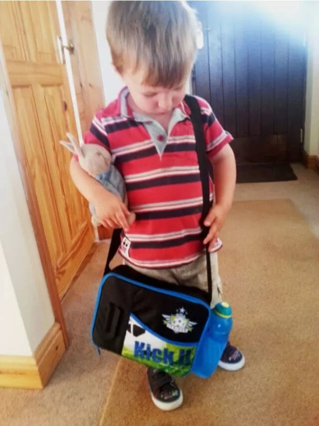boy with peter rabbit toy and lunchbag (1)