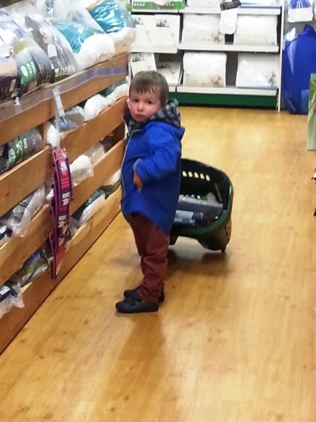 silent sunday toddler pushing shopping basket