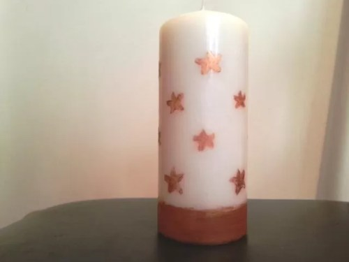 upcycled glitter paint candle