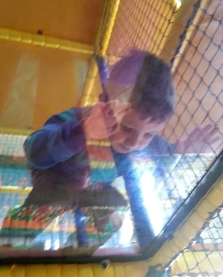 looking through the glass at soft play