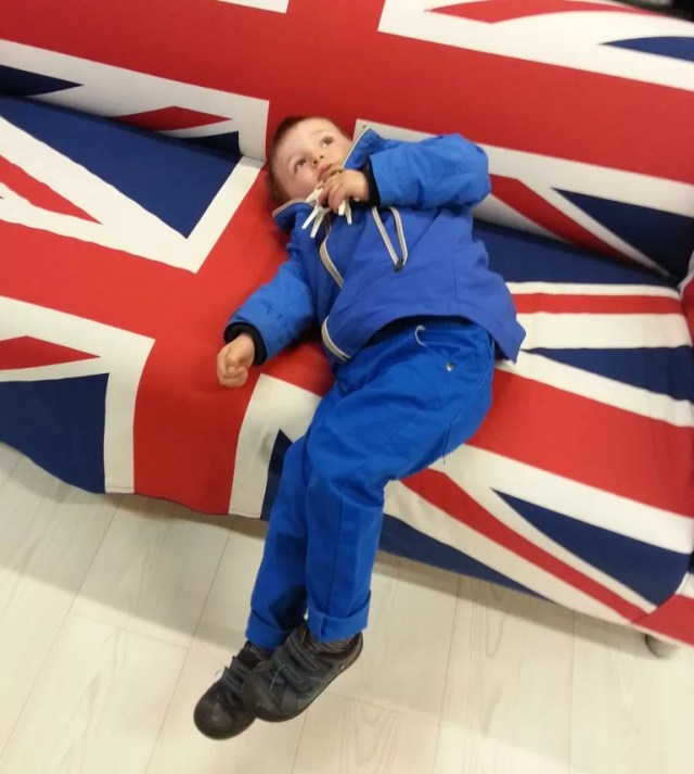 chilling out on union jack ikea sofa
