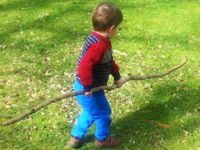 playing with twigs