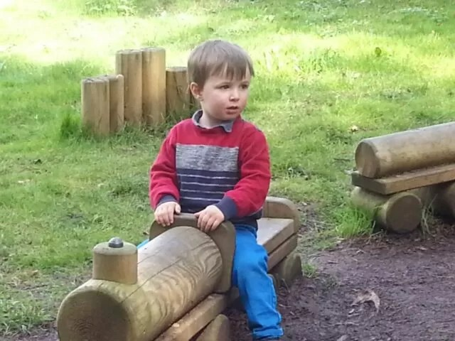 wooden play train at Compton Verney
