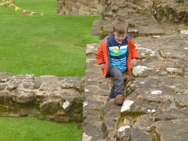 climbing on kenilworth castle ruins