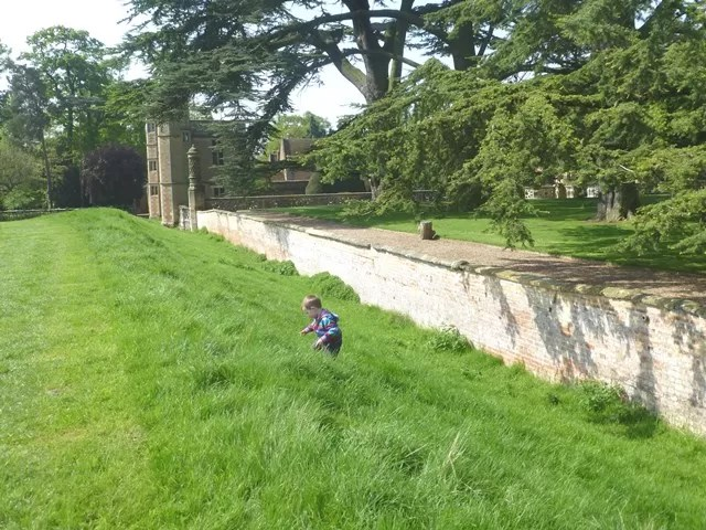 climbing up from the moat