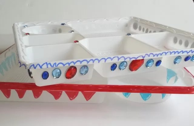 decorated bento plates