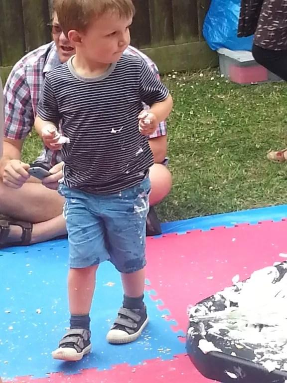 messy shaving foam play