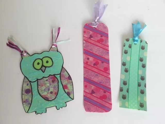 washi tape bookmarks with ribbons