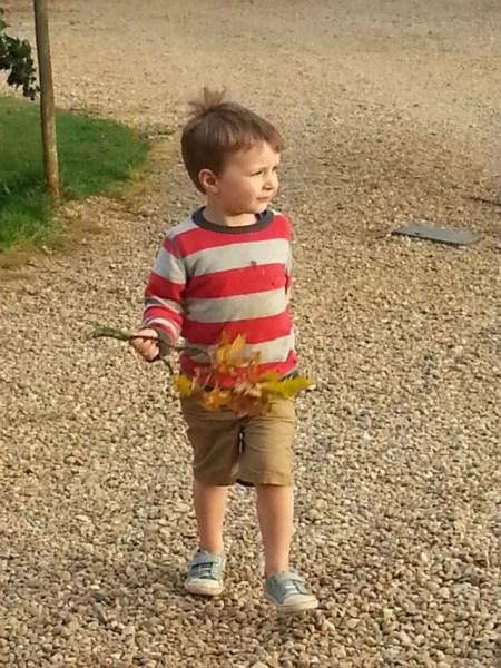 boy with oak tree twig trendy thursday