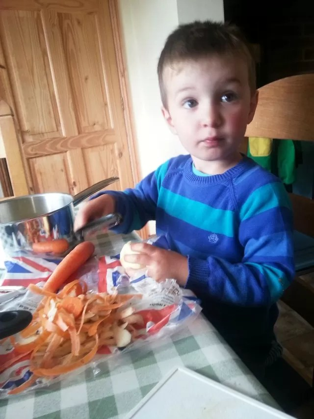peeling vegetables