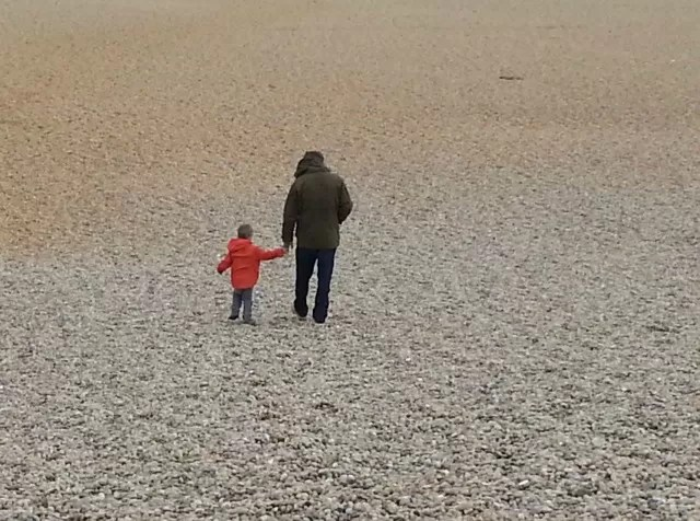 walking on Chesil Beach c