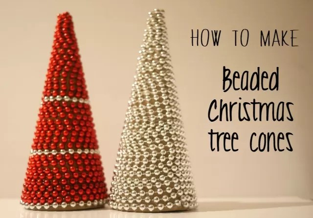 how to make beaded christmas tree cones - Bubbablue and me