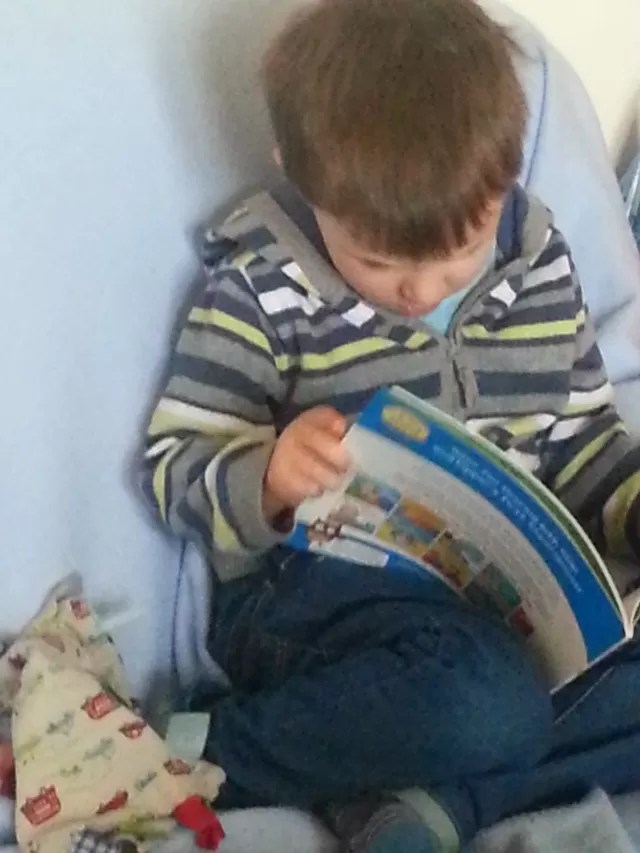 engrossed in a book