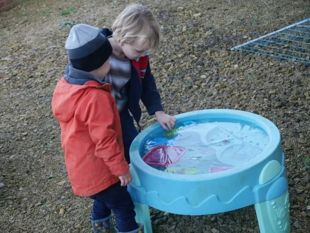 checking the ice in the water table
