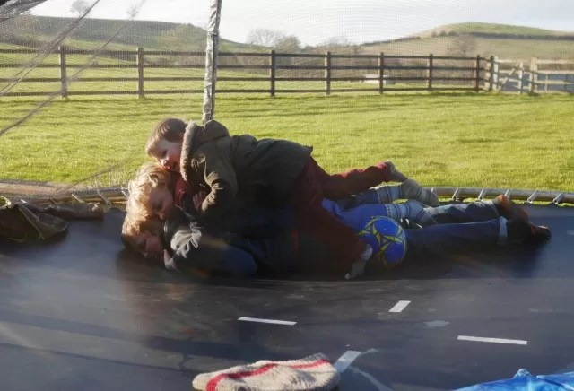pile up on the trampoline