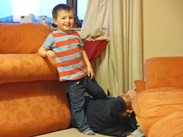 mucking around with dad